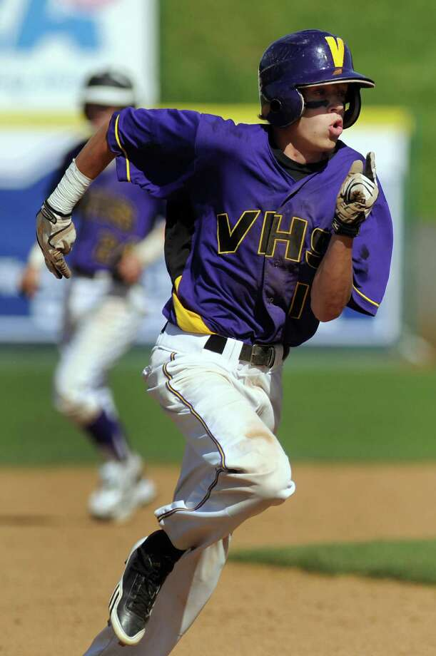 Voorheesville's Zach Childs (10) runs the bases during their Class C final baseball game against Hoosick Falls on Thursday, May 31, 2012, at Joseph L. Bruno Stadium in Troy, N.Y. (Cindy Schultz / Times Union) Photo: Cindy Schultz / 00017857A