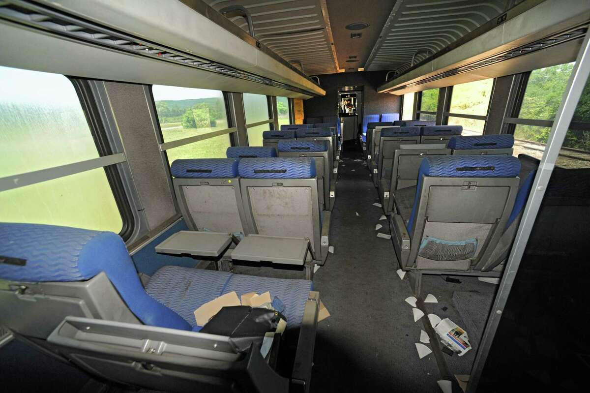 Passenger seats in a never-used bullet train car at the Glenville Business and Tech Park Thursday, May 31, 2012 in Glenville, N.Y. (Lori Van Buren / Times Union)