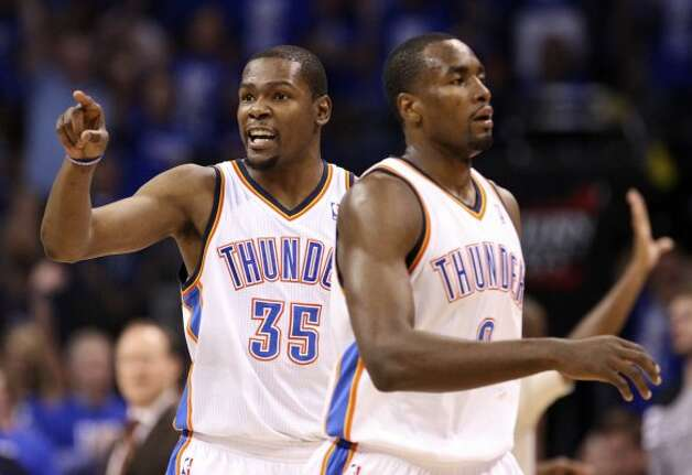 Oklahoma City Thunder's Kevin Durant (35) points near Oklahoma City Thunder's Serge Ibaka (9) during the second half of game three of the NBA Western Conference Finals in Oklahoma City, Okla. on Thursday, May 31, 2012. (Edward A. Ornelas / Edward A. Ornelas / San Antonio Express-News)