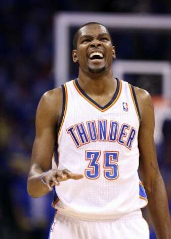 Oklahoma City Thunder's Kevin Durant (35) makes a face during the second half of game three of the NBA Western Conference Finals in Oklahoma City, Okla. on Thursday, May 31, 2012. (Edward A. Ornelas / Edward A. Ornelas / San Antonio Express-News)