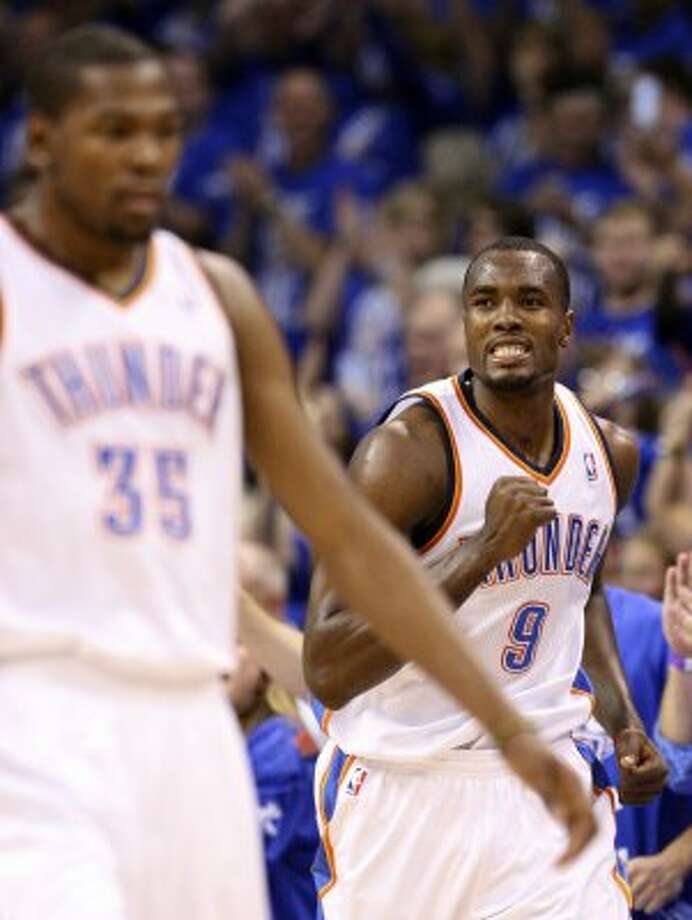 Oklahoma City Thunder's Serge Ibaka (9) reacts during the second half of game three of the NBA Western Conference Finals in Oklahoma City, Okla. on Thursday, May 31, 2012. (Edward A. Ornelas / Edward A. Ornelas / San Antonio Express-News)