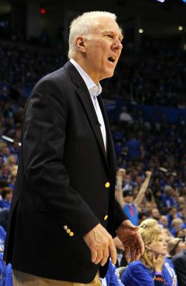 San Antonio Spurs coach Gregg Popovich during the second half of game three of the NBA Western Conference Finals in Oklahoma City, Okla. on Thursday, May 31, 2012.  The Thunder won 102-82. (Kin Man Hui / Kin Man Hui / San Antonio Express-News)