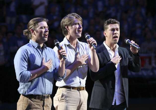 The group Hanson performs the National Anthem before the first half of game three of the NBA Western Conference Finals in Oklahoma City, Okla. on Thursday, May 31, 2012. (Edward A. Ornelas / Edward A. Ornelas / San Antonio Express-News)