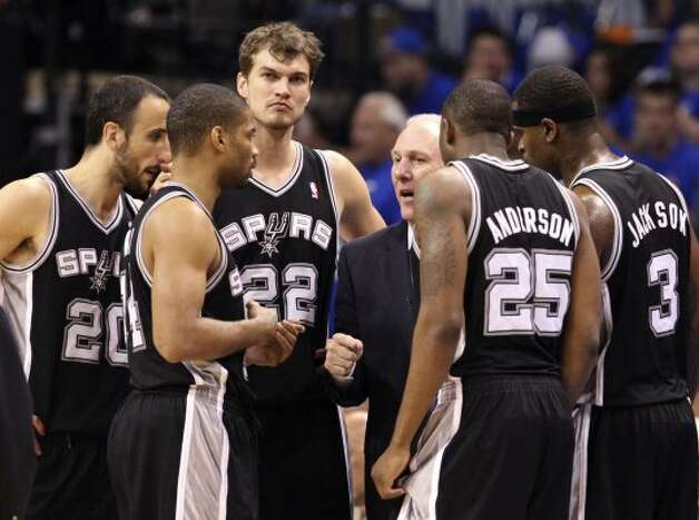 San Antonio Spurs coach Gregg Popovich talks to his team during the second half of game three of the NBA Western Conference Finals in Oklahoma City, Okla. on Thursday, May 31, 2012. (Edward A. Ornelas / Edward A. Ornelas / San Antonio Express-News)