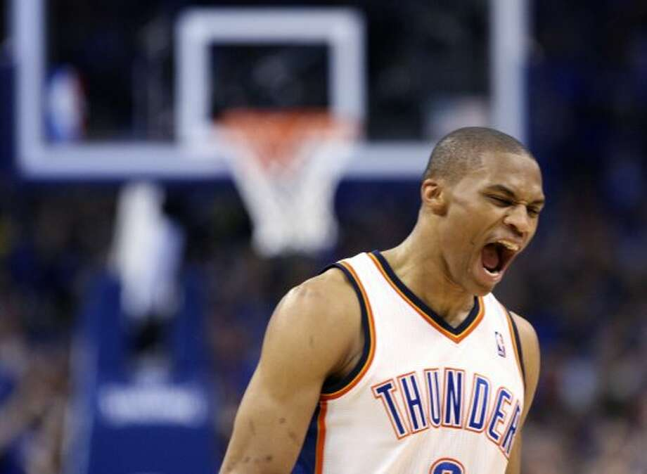 Oklahoma City Thunder's Russell Westbrook (0) reacts after a play during the second half of game three of the NBA Western Conference Finals in Oklahoma City, Okla. on Thursday, May 31, 2012. (Edward A. Ornelas / Edward A. Ornelas / San Antonio Express-News)