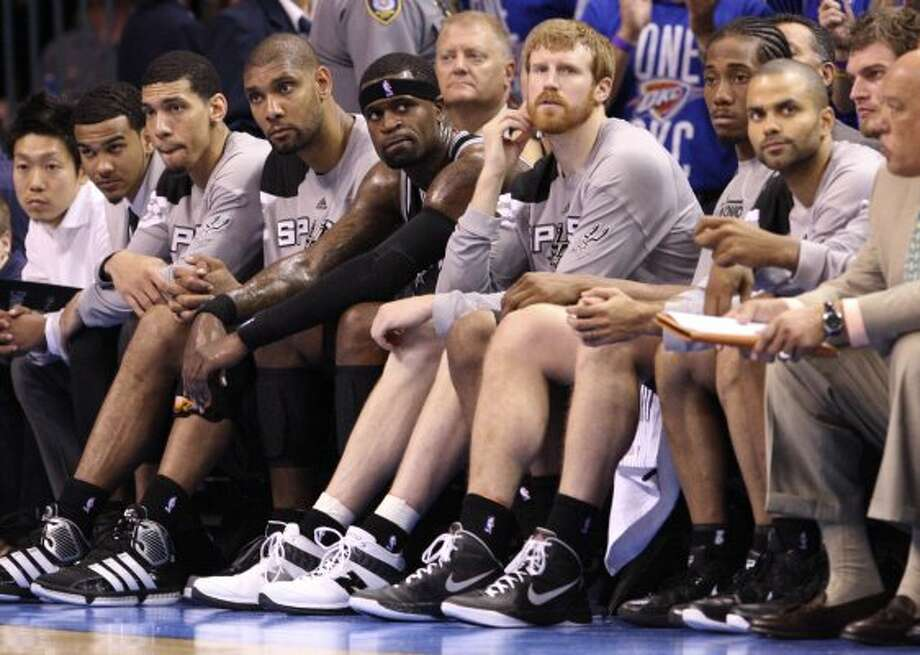 The Spurs bench during the second half of game three of the NBA Western Conference Finals in Oklahoma City, Okla. on Thursday, May 31, 2012. (Edward A. Ornelas / Edward A. Ornelas / San Antonio Express-News)