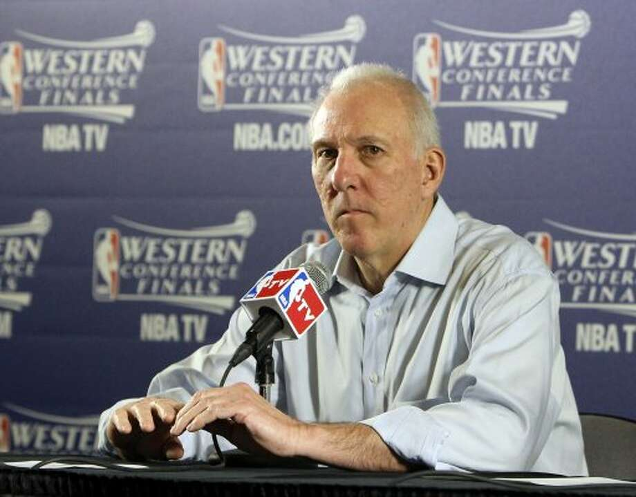 San Antonio Spurs coach Gregg Popovich answers question from the media after game three of the NBA Western Conference Finals in Oklahoma City, Okla. on Thursday, May 31, 2012.  The Thunder won 102-82. (Kin Man Hui / Kin Man Hui / San Antonio Express-News)