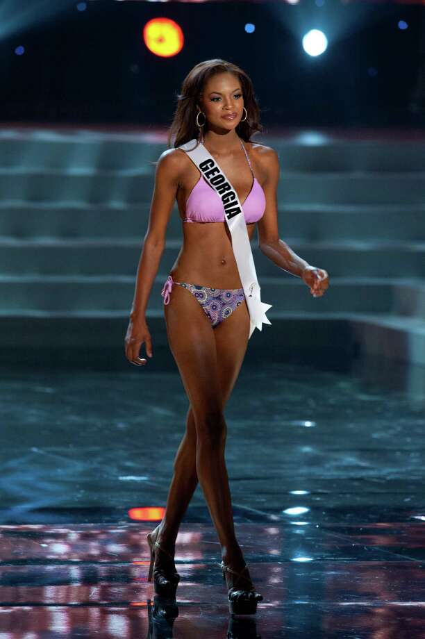 "Miss Georgia USA 2012, Jasmyn ""Jazz"" Alexandria Wilkins, from Johns Creek, competes in her swimwear by Kooey Australia and fashion footwear by Chinese Laundry during the 2012 Miss USA Presentation Show on Wednesday, May 30 from the Planet Hollywood Resort and Casino Theatre for the Performing Arts in Las Vegas, Nevada. The 2012 MISS USA® Pageant will air LIVE on NBC June 3 at 9:00 p.m. ET from the Theatre for Performing Arts in Las Vegas. HO/Miss Universe Organization L.P., LLLP Photo: Darren Decker, Miss USA / Miss Universe Organization"