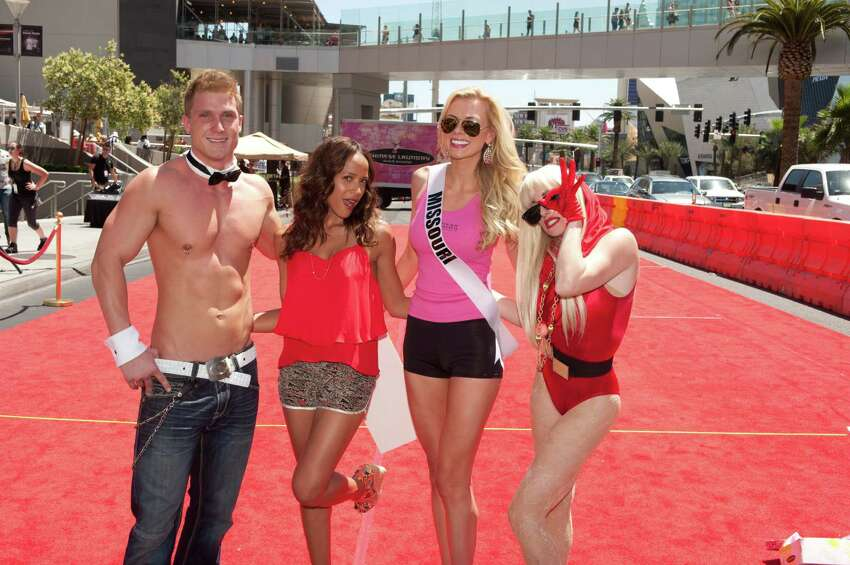 Chippendales Dancer Kyle Eftnemes, Emcee Dania Ramirez, Miss Missouri USA 2012, Katie Kearney, winner of the Chinese Laundry Wedge Run, and Harrah's Las Vegas Legends in Concert tribute artist Lady Gaga outside Planet Hollywood Resort and Casino, in Las Vegas, Nevada on Tuesday, May 22, 2012. She will spend the next 2 weeks touring, filming, rehearsing, and making new friends while they preparing to compete for the coveted Miss USA Diamond Nexus Labs Crown. Tune in to the LIVE NBC Telecast at 9:00 PM on June 3, 2012 to see who will win the title of Miss USA® 2012.
