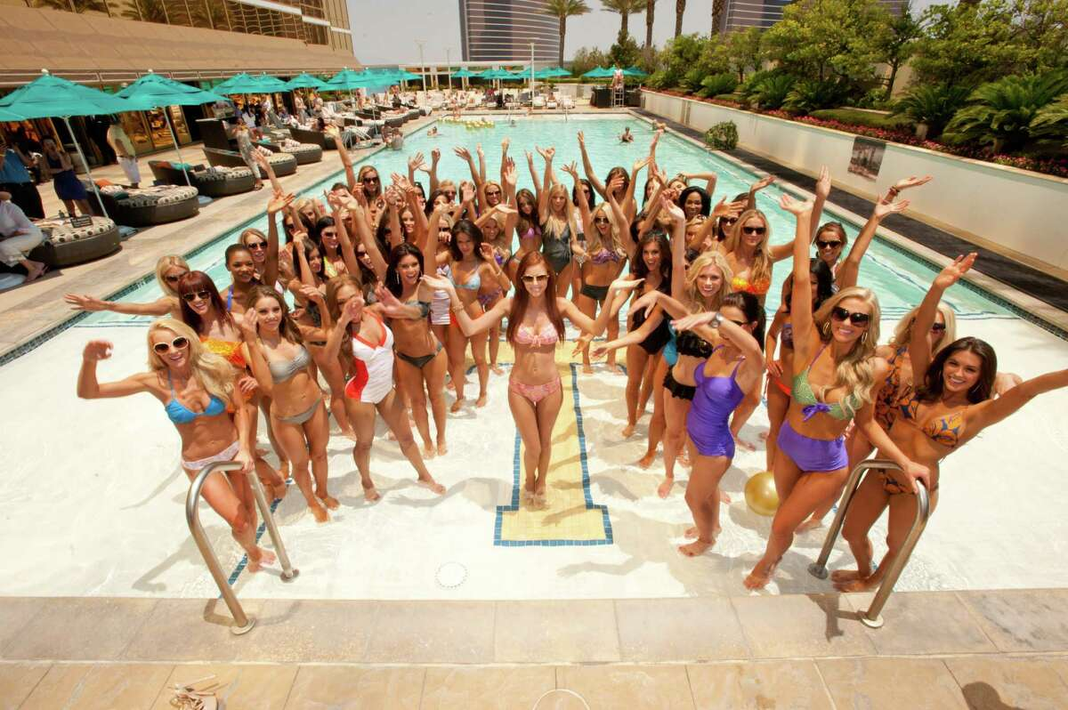 Alyssa Campanella, Miss USA 2011 (center) with the Miss USA 2012 contestants poolside at the Kooey Australia Swimwear Fashion Show featuring the Miss USA 2012 Contestants at the Trump Tower in Las Vegas, Nevada on Wednesday, May 23, 2012. They will spend the next 2 weeks touring, filming, rehearsing, and making new friends while preparing to compete for the coveted Miss USA Diamond Nexus Labs Crown. Tune in to the LIVE NBC Telecast at 9:00 PM on June 3, 2012 to see who will win the title of Miss USA® 2012.HO/Miss Universe Organization L.P., LLLP