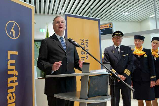Christoph Franz, chairman and CEO of Deutsche Lufthansa AG, speaks before the first commercial flight of the first airline Boeing 747-8 Intercontinental, from Frankfurt, Germany on Friday, June 1, 2012. Photo: JUERGEN MAI / JUERGENMAI.COM