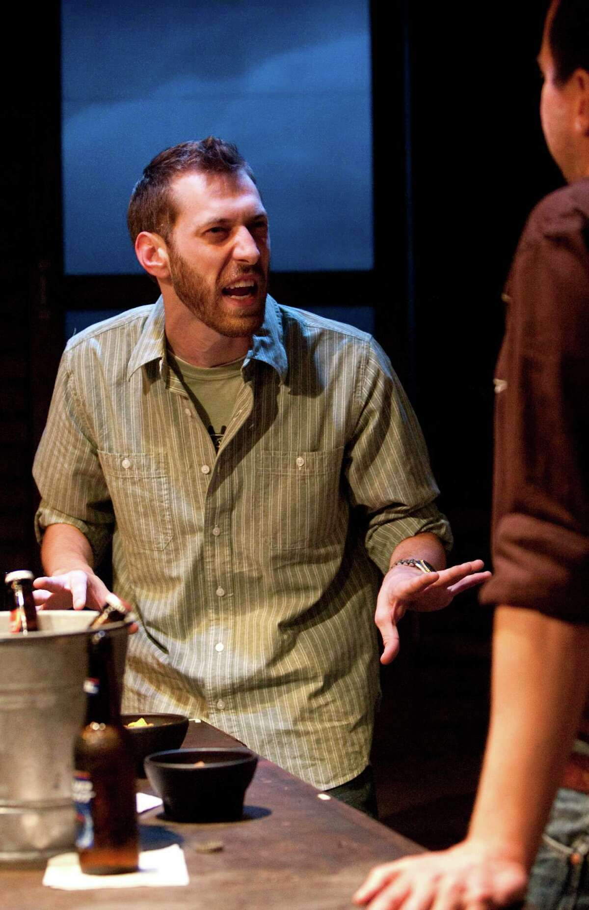 John DeLoach, left, rehearses a scene with Troy Schulze, right, from the play American Falls at DiverseWorks Wednesday, May 23, 2012, in Houston. (Cody Duty / Houston Chronicle)