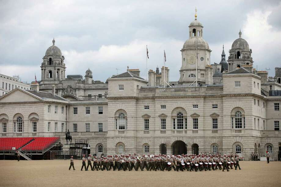A military band practice on Horse Guards Parade on June 1, 2012 in London, England. With two days to go before the start of the Diamond Jubilee celebrations for Queen Elizabeth II, final preparations are taking place in the capital. Photo: Oli Scarff, Getty Images / 2012 Getty Images