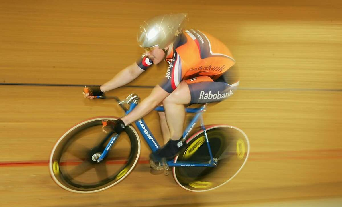 A competitor rides at the Home Depot Center Velodrome in Carson, California.