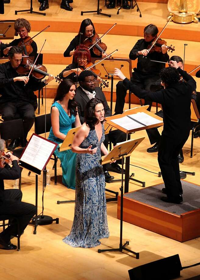 "The L.A. Philharmonic's ""The Gospel According to the Other Mary"" features mezzo-soprano Kelley O'Connor (front) as volatile Mary Magdalene, contralto Tamara Mumford (in back) as Martha and tenor Russell Thomas as Lazarus. Photo: Craig T. Mathew/Mathew Imaging"