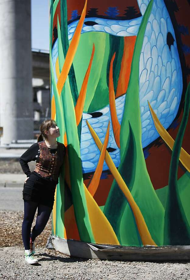 High school student Cory Ferris designed the mural at the freeway interchange at San Bruno Avenue on Friday, May 25th, 2012 in  San Francisco, Calif. Photo: Jill Schneider, The Chronicle