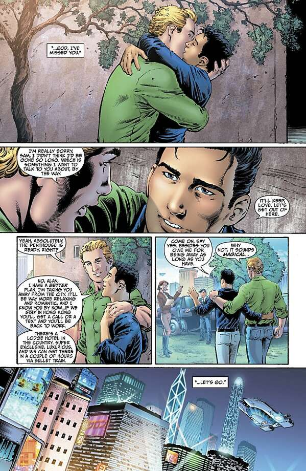 "This image provided by DC Entertainment shows a page from the second issue of the company's ""Earth 2"" comic book series featuring Alan Scott, the alter ego of its Green Lantern character, who is revealed to be gay. The reveal is the latest example of how comics publishers big and small are making their characters just as diverse as the people who read their books. The issue will be available on June 6, 2012 (AP Photo/DC Entertainment) Photo: Associated Press"