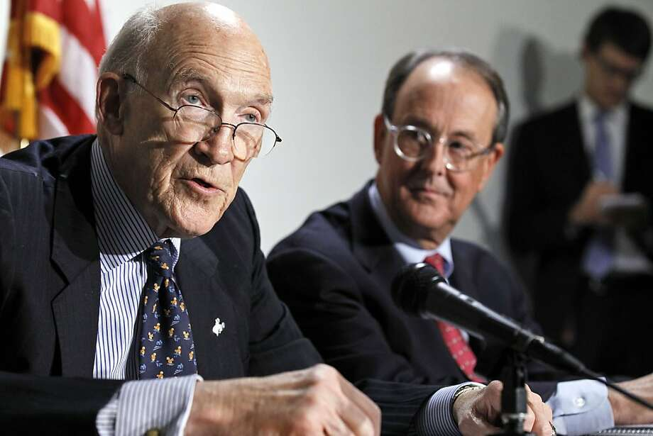 FILE - In this Nov. 30, 2010 file photo, former U.S. Sen. Alan Simpson, left, and former White House Chief of Staff Erskine Bowles take part in a news conference on Capitol Hill in Washington. Simpson on Wednesday, July 13, 2011 said he fears politicianson both sides of the contentious fight in Washington over whether to raise the national debt limit are losing sight of the most important question: what's best for the United States _ not how they can advance their own political agendas. Photo: Alex Brandon, AP 2010