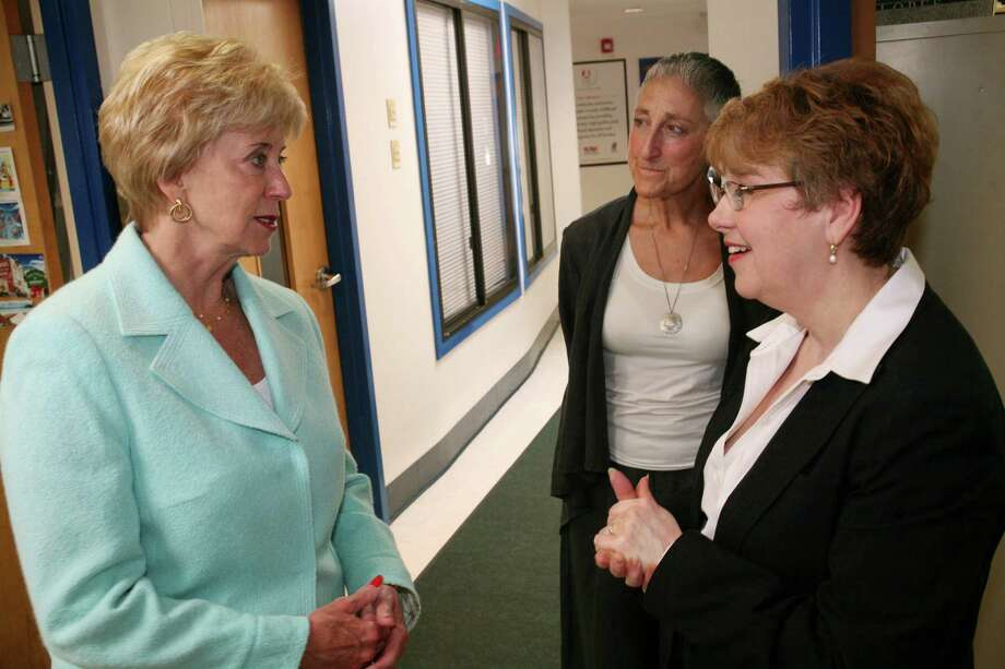 GOP Senate hopeful Linda McMahon, left, speaks with Barbara Garvin-Kesler, right, executive director of the Childcare Learning Centers in Stamford, and Joanne Tusia, senior vice president of development, as part of McMahon's summer jobs tour to promote her economic recovery plan Friday, June 1, 2012. Photo: David Ames / Greenwich Time