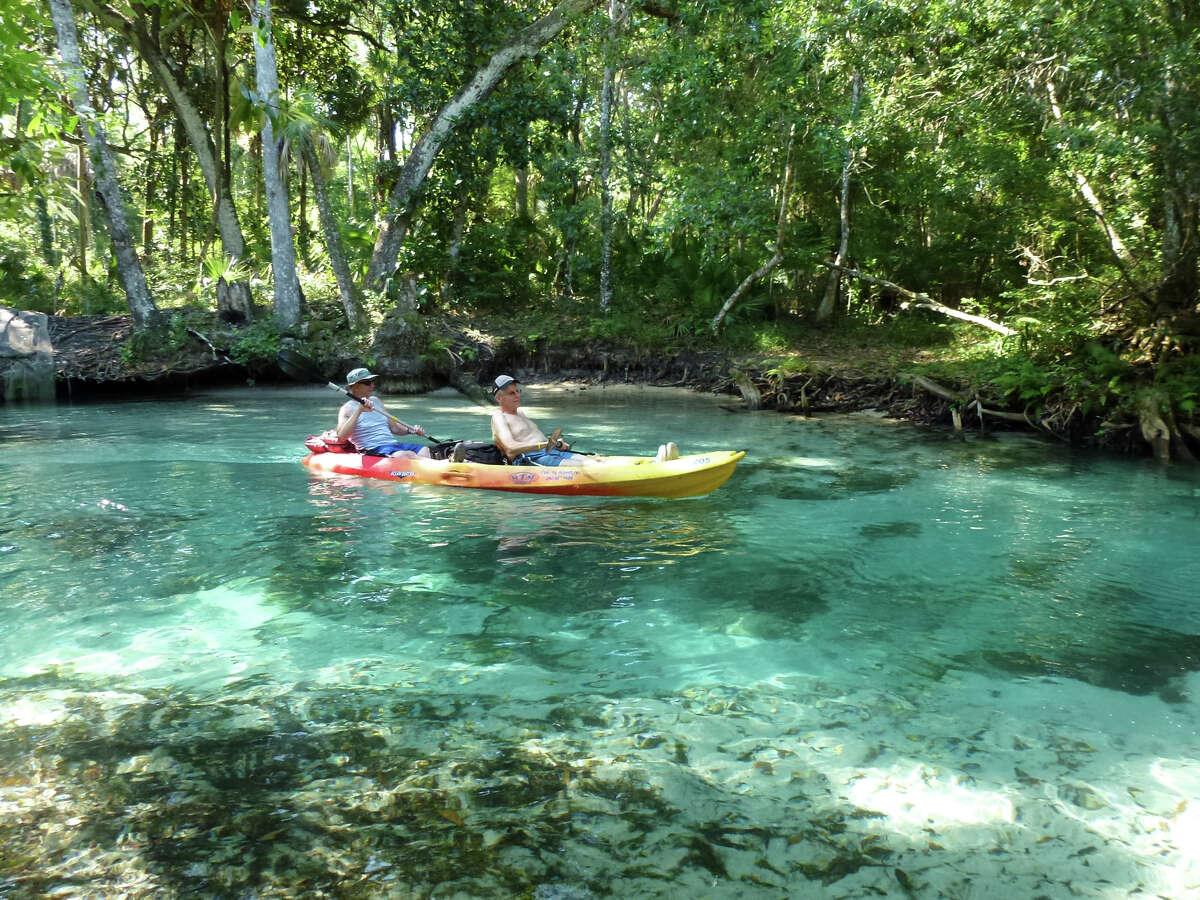 Underground springs turn the Weeki Wachee river water turquoise blue. The Weeki Wachee River is a river in Hernando County, Fla.