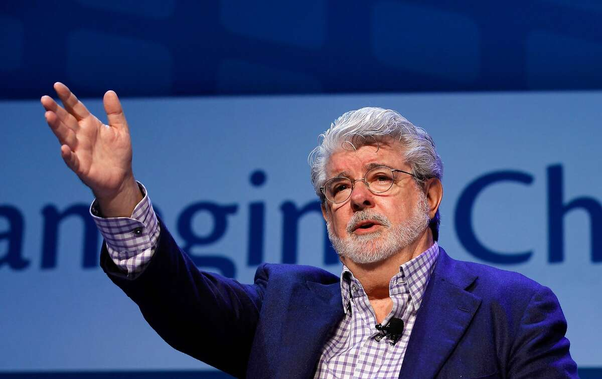 WASHINGTON, DC - MAY 11: Filmmaker George Lucas addresses the Investment Company Institute's annual general membership meeting at the Marriott Wardman Park hotel May 11, 2012 in Washington, DC. Lucas was interviewed by his partner and financial reporter for NBC Mellody Hobson about