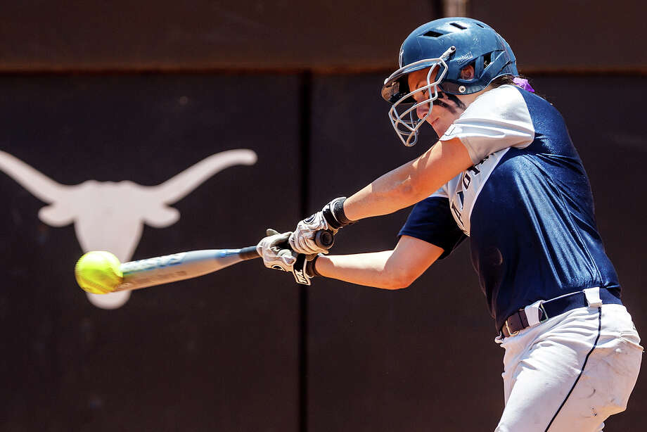 "Smithson Valley's Katie ""Crash"" Repole gets an RBI single during the third inning of their 4A state semifinal game with Waco Midway at McCombs Field in Austin on June 1, 2012.  Smithson Valley advance to the finals with a 11-9 victory over the Panthers.  MARVIN PFEIFFER/ mpfeiffer@express-news.net Photo: MARVIN PFEIFFER, Marvin Pfeiffer/ Express-News / Express-News 2012"
