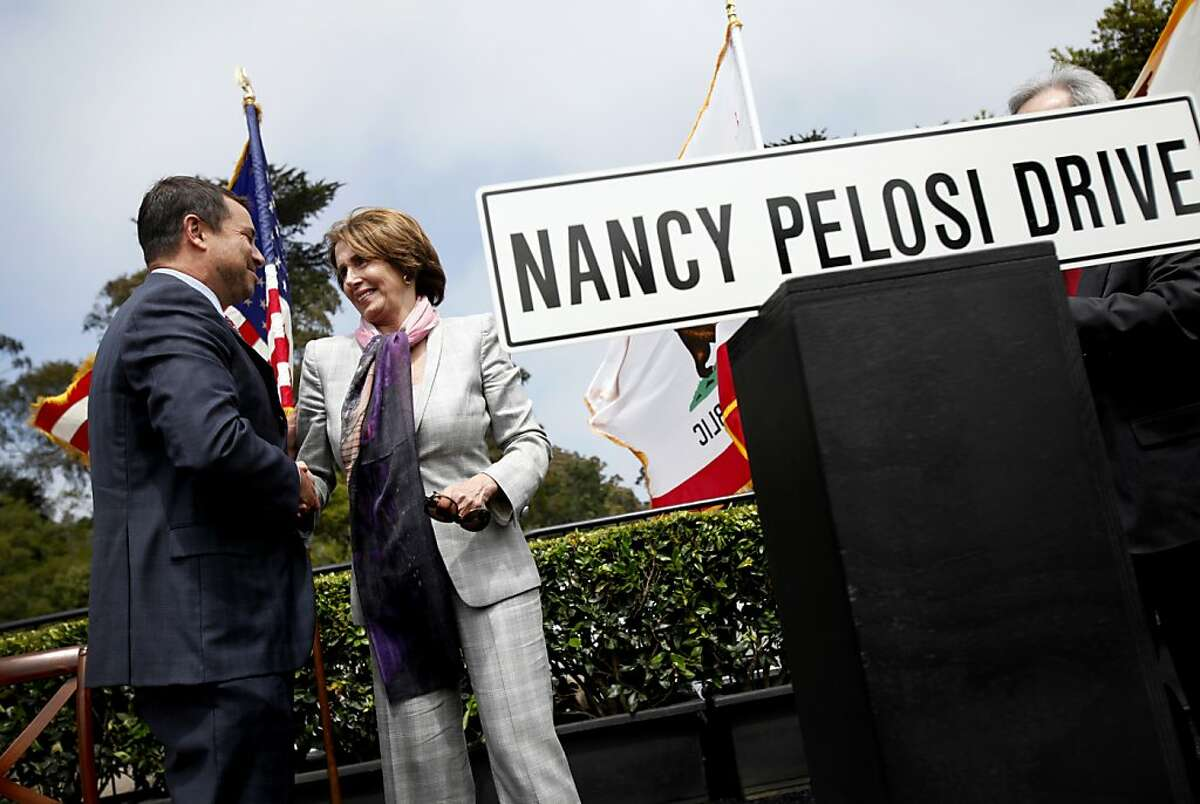 Representative Nancy Pelosi shakes hands with Phil Ginsburg, the general manager of San Francisco Recreation and Parks, at a ceremony renaming Middle Drive East in her honor in Golden Gate Park in San Francisco, Calif., Monday, May 21, 2012. Now called Nancy Pelosi Drive, the road connects John F. Kennedy Jr. Drive with Martin Luther King Jr. Drive.