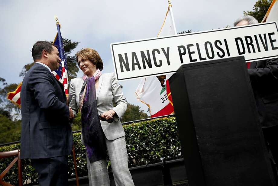 Representative Nancy Pelosi shakes hands with Phil Ginsburg, the general manager of San Francisco Recreation and Parks, at a ceremony renaming Middle Drive East in her honor in Golden Gate Park in San Francisco, Calif., Monday, May 21, 2012.  Now called Nancy Pelosi Drive, the road connects John F. Kennedy Jr. Drive with Martin Luther King Jr. Drive. Photo: Sarah Rice, Special To The Chronicle