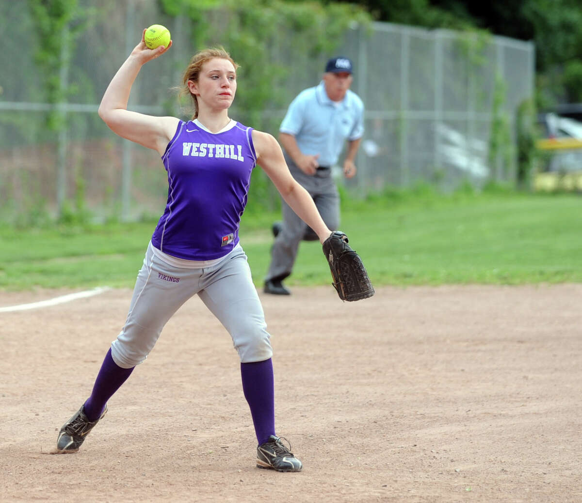 Westhill's Tami Wise makes a play in the infield during Friday's softball game against Mercy in Stamford on June 1, 2012.
