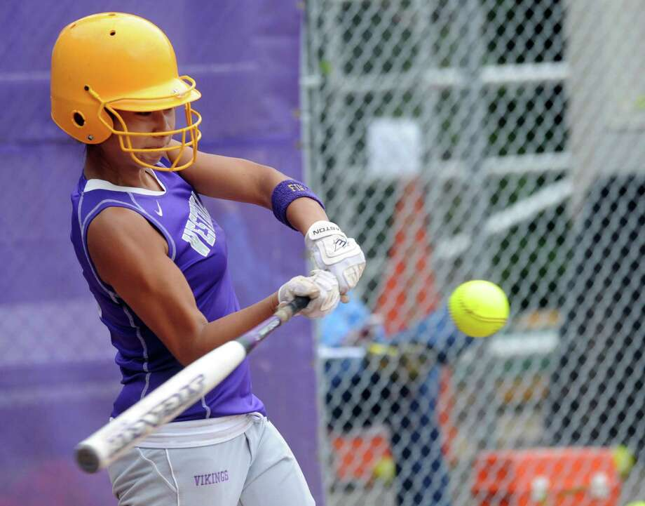 Westhill's Brittney Battista swings during Friday's softball game against Mercy in Stamford on June 1, 2012. Photo: Lindsay Niegelberg / Stamford Advocate