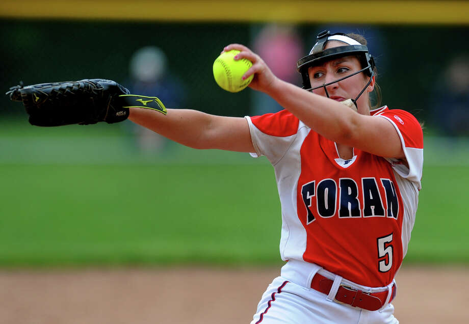 Foran pitcher Jessica Harkness pitches against Wethersfield, during Class L state tournament quarterfinal girls softball action in Milford, Conn. on Friday June 1, 2012. Photo: Christian Abraham / Connecticut Post