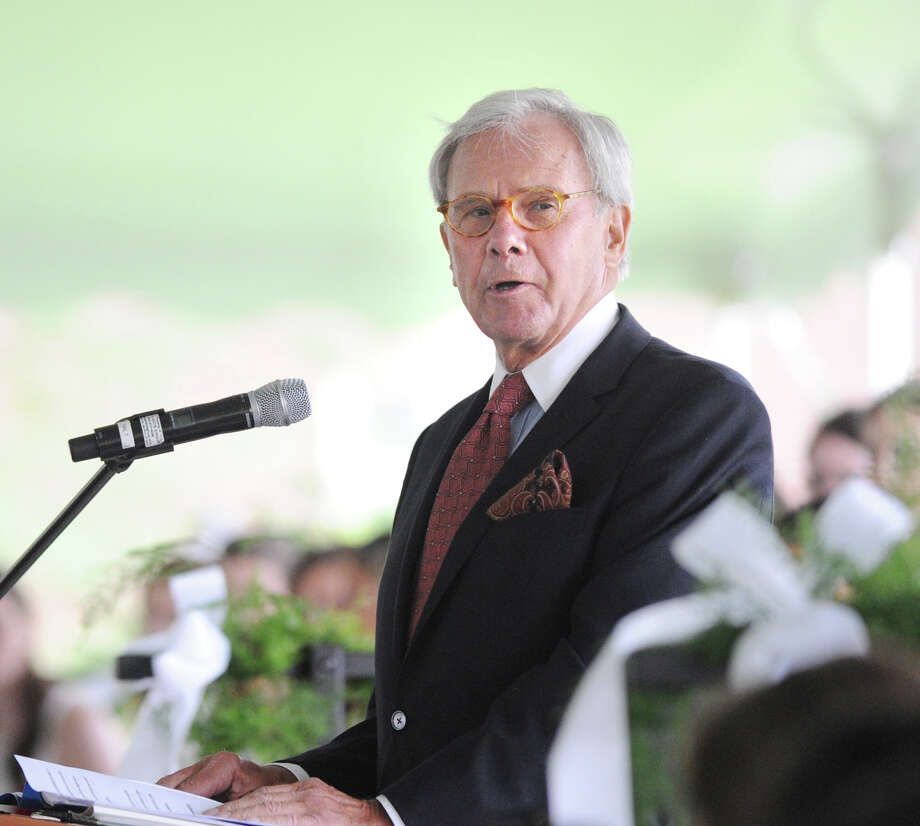 Journalist Tom Brokaw speaks during the Convent of the Sacred Heart graduation in Greenwich, Friday, June 1, 2012. Photo: Bob Luckey / Greenwich Time