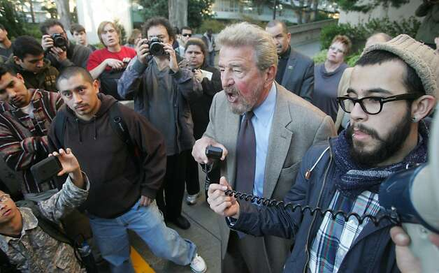 San Francisco State University President Robert Corrigan addresses Occupy SFSU members on Thursday, Dec. 1, 2011, in San Francisco. Corrigan met impromtu with students for over an hour to discuss their demands. Photo: Mathew Sumner, Special To The Chronicle