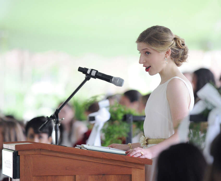 Nicole Narea of Greenwich gives the salutatorian address during the Convent of the Sacred Heart graduation in Greenwich, Friday, June 1, 2012. Photo: Bob Luckey / Greenwich Time