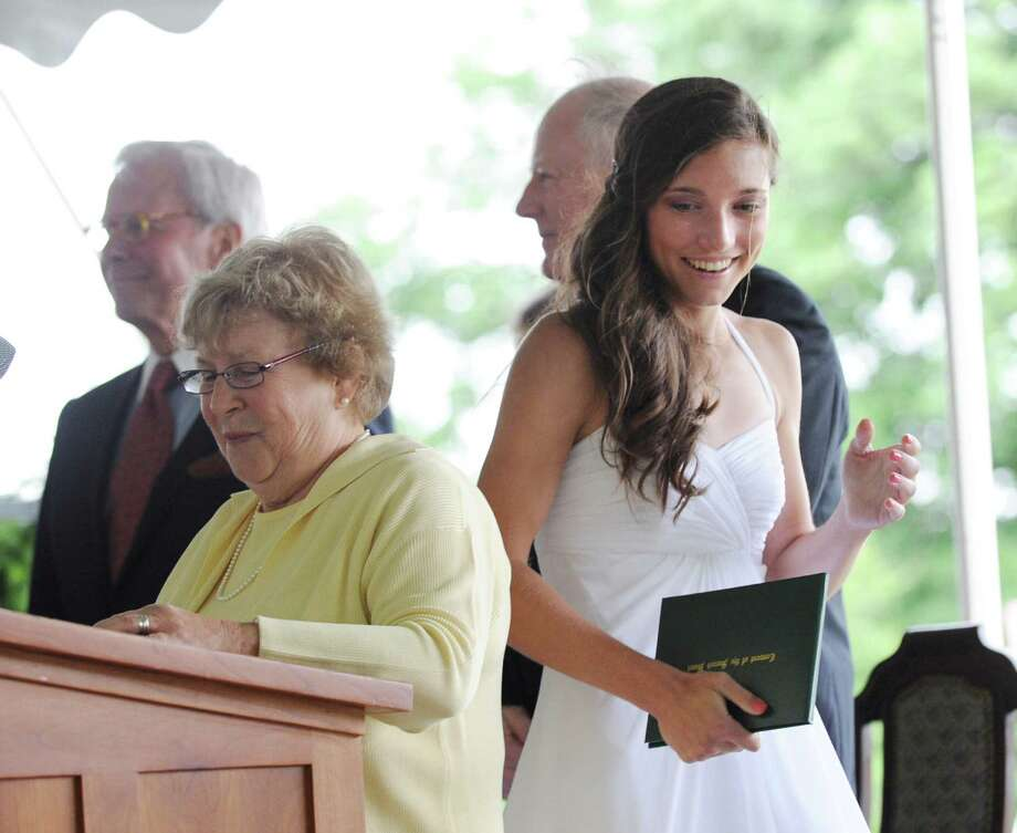 Christine Bloom smiles as after receiving her diploma during the Convent of the Sacred Heart graduation in Greenwich, Friday, June 1, 2012. Photo: Bob Luckey / Greenwich Time