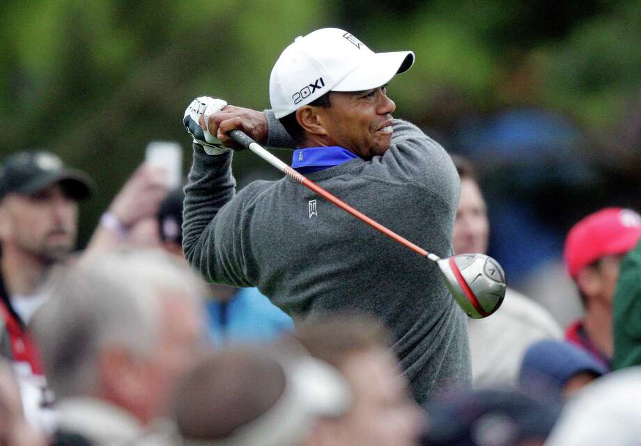 Tiger Woods shot a 3-under-par 69, putting him in a three-way tie with Spencer Levin and Scott Stallings. Photo: Jay LaPrete / FR52593 AP
