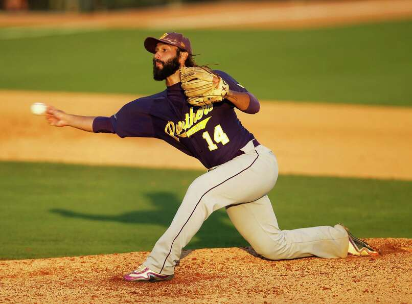 Prairie View relief pitcher Daniel Castillo (14)  pitches in the 7th inning during a college basebal