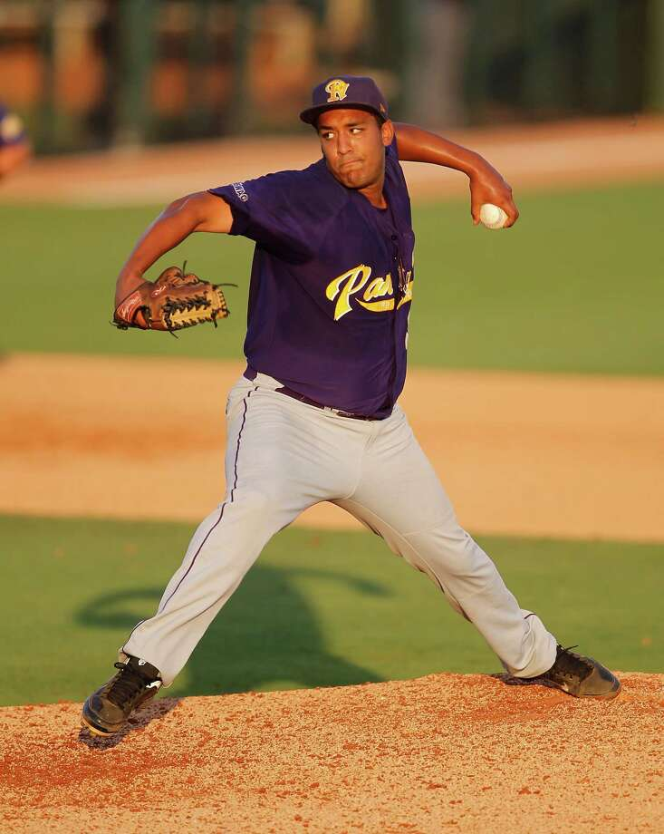 Prairie View starting pitcher Derrick Mitchell (19) pitches in the 7th inning during a college baseball game at the Houston Regional at Rice University, Friday, June 1, 2012, in Houston. Rice won the game 3-2. Photo: Karen Warren, Houston Chronicle / © 2012  Houston Chronicle