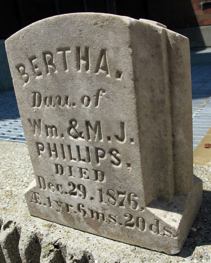 Back in 1977, three youngsters playing in a thicket of weeds near Quarry Road and the Interstate 95 overpass in Milford, Conn. came across a 100-year-old grave marker. The exact inscription reads: âÄúBertha, daughter of Wm. & M.J. Phillips, died Dec. 29/ 1876. Age 1yr, 6 mos, 20 days.âÄù On Thursday May 31, 2012, Milford police information officer Jeffrey Nielson announced âÄúIt was discovered that the stone was from Garden Cemetery in Chelsea which was in operation from 1841 until the 1930s when it was closed to further burials. Photo: John Burgeson / Connecticut Post