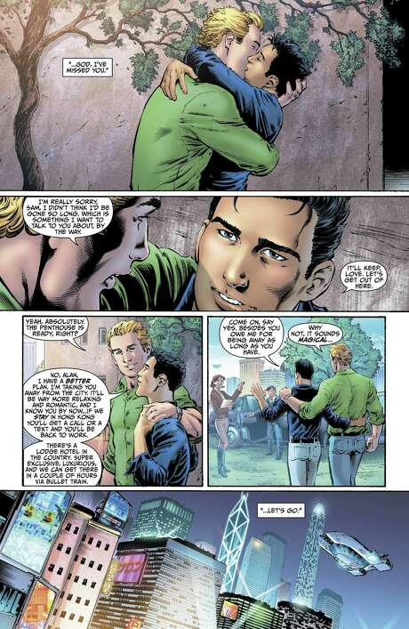 "This image provided by DC Entertainment shows a page from the second issue of the company's ""Earth 2"" comic book series featuring Alan Scott, the alter ego of its Green Lantern character, who is revealed to be gay. The reveal is the latest example of how comics publishers big and small are making their characters just as diverse as the people who read their books. The issue will be available on June 6, 2012 (AP Photo/DC Entertainment) / DC Entertainment"