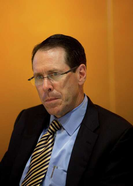 Randall Stephenson, chief executive officer of AT&T Inc., speaks during an interview in New York, U.S., on Thursday, May 10, 2012. AT&T Inc. price increases for wireless service aren?t caused by U.S. steps to block the carrier?s purchase of smaller T-Mobile USA Inc., U.S. Federal Communications Commission Chairman Julius Genachowski said earlier this week. Photographer: Victor J. Blue/Bloomberg *** Local Caption *** Randall Stephenson Photo: Victor J. Blue / © 2012 Bloomberg Finance LP