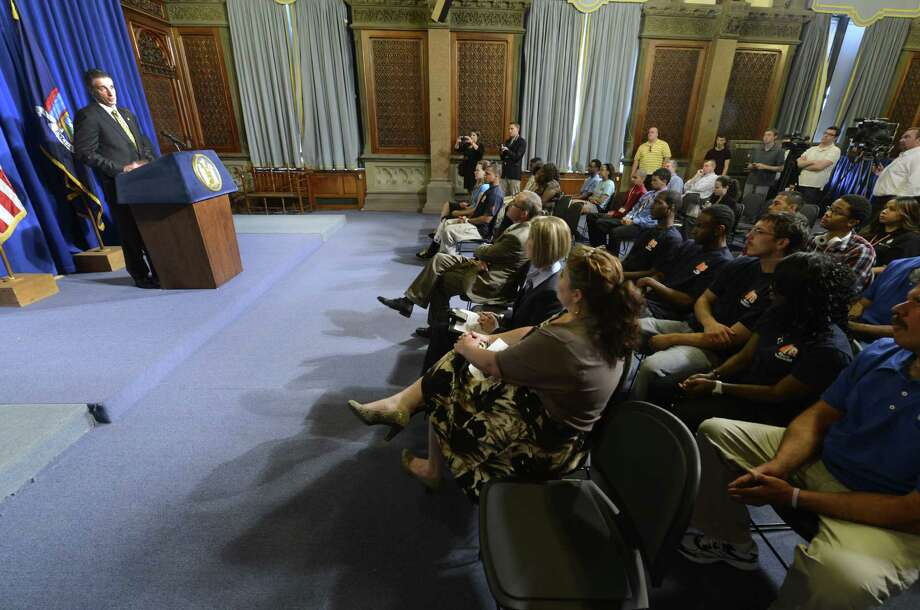 Lt. Governor Robert Duffy highlighted two state initiatives that are designed to help New York's youth find jobs during a press conference in the Blue Room of the State Capitol in Albany, N.Y. June 1, 2012.        (Skip Dickstein / Times Union) Photo: Skip Dickstein / 00017912A