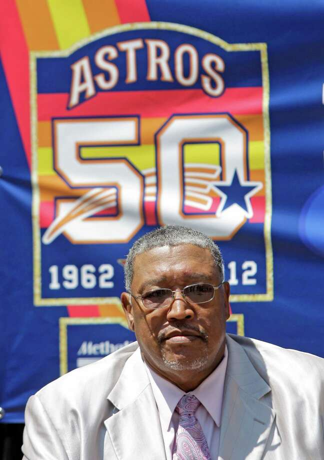 Former Astros' pitcher J.R. Richard listens as Astros' broadcaster Bill Brown talks about his induction into the Walk of Fame on the Texas Avenue sidewalk outside of Minute Maid Park Friday, June 1, 2012, in Houston. ( Melissa Phillip / Houston Chronicle ) Photo: Melissa Phillip / © 2012 Houston Chronicle