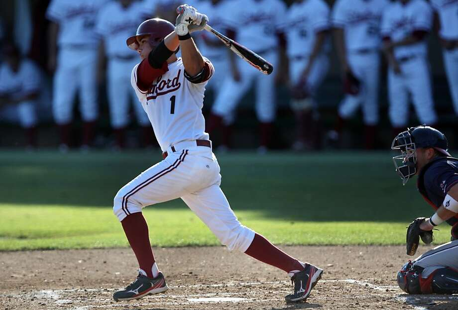 Alex Blandino takes a swing at the ball during the game versus Fresno on Friday. Stanford met Fresno at Sunken Diamond on Friday for the NCAA Regional. Photo: Kevin Johnson, The Chronicle