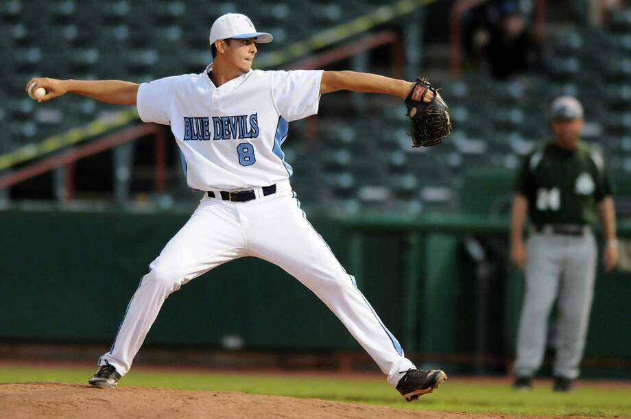 Columbia's Connor Ramon winds up the pitch  during their Class AA final baseball game against Shenedehowa on Friday, June 1, 2012, at Joseph L. Bruno Stadium in Troy, N.Y. (Cindy Schultz / Times Union) Photo: Cindy Schultz / 00017858A