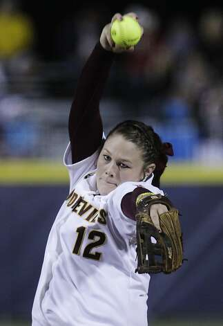 Arizona State's Dallas Escobedo pitches against Alabama in the second inning of an NCAA Women's College World Series softball game in Oklahoma City, Friday, June 1, 2012. (AP Photo/Sue Ogrocki) Photo: Sue Ogrocki, Associated Press