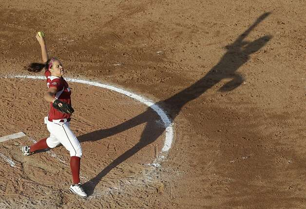 Oklahoma pitcher Keilani Ricketts pitches to California in the third inning of an NCAA Women's College World Series softball game in Oklahoma City, Friday, June 1, 2012. Oklahoma won 3-0. (AP Photo/Sue Ogrocki) Photo: Sue Ogrocki, Associated Press