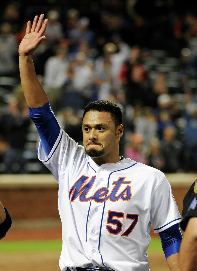New York Mets starting pitcher Johan Santana (57) celebrates his no-hitter against the St. Louis Cardinals at the end of a baseball game on Friday, June 1, 2012, at Citi Field in New York. The Mets won 8-0. Photo: Kathy Kmonicek