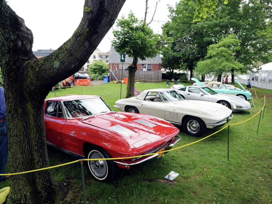 A line of Corvettes during the Greenwich Concours d'Elegance at Roger Sherman Baldwin Park in Greenwich, Saturday, June 2, 2012. Photo: Bob Luckey / Greenwich Time
