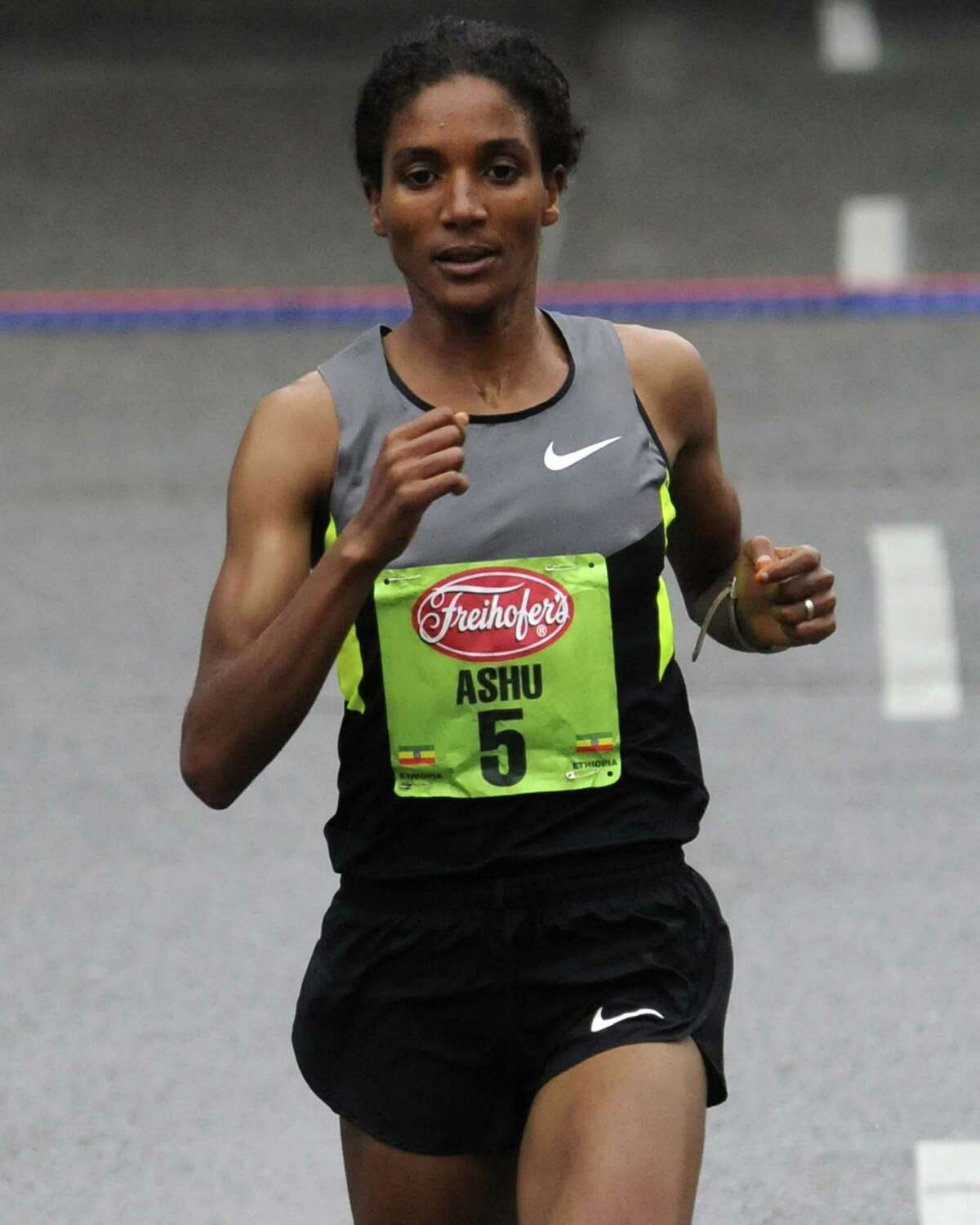 Ashu Kasim finishes second in the 34rd annual Freihofer's Run for Women in Albany N.Y. Saturday June 2, 2012. (Michael P. Farrell/Times Union)